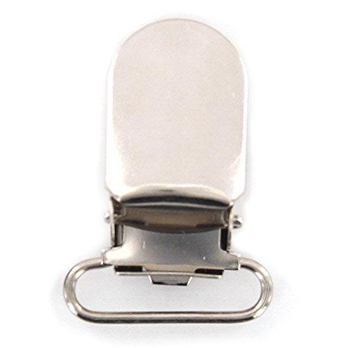 BKAUK 20 stuks 11mm Webhaak fopspeen broekdrager clips voor handwerk - zilver