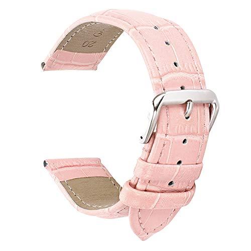 14mm Cuero de Color Rosa Correa del Reloj de reemplazo de Correas para Las Mujeres de Piel de Becerro de Grano Genuina de cocodrilo