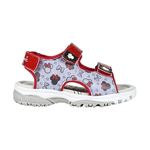 Disney Minnie Mouse Sandalen für Mädchen, Leichte Pool Strand Urlaub Aufleuchten Sandalen, Leder Design, Sommerschuhe, Geschenk für Mädchen, Größe 23