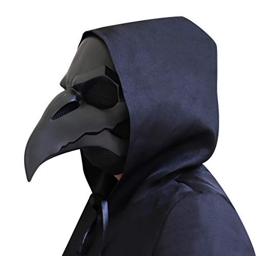 👹 The plague doctor mask is made of high-quality resin material. It is integrally formed, which is the perfect appearance of the Plague Doctor. It is safe, non-toxic and not easy to deform. 👹 No Lenses, No Fog : The part of the eye of the mask is hol...