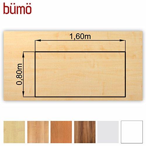 Bümö® stabile Tischplatte 2,5 cm stark - DIY Schreibtischplatte aus Holz | Bürotischplatte belastbar mit 120 kg | Spanholzplatte in vielen Formen & Dekoren| Platte für Büro, Tisch & mehr (Rechteck: 160 x 80 cm, Ahorn)