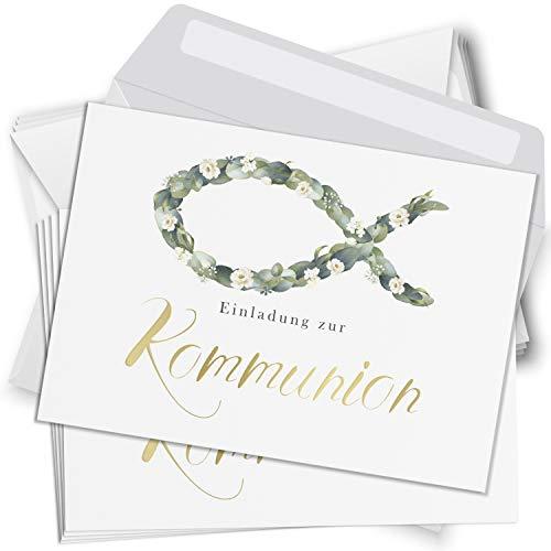 15 Einladungskarten Kommunion mit Umschlägen Motiv Fisch Einladung weiss Karten zur Feier Jungen Mädchen rosa blau
