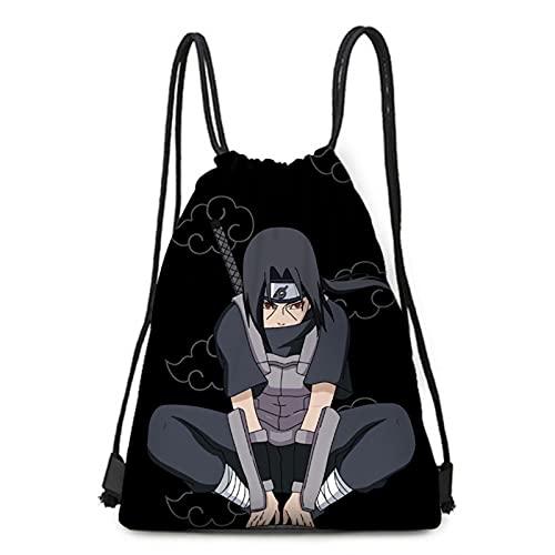 WWZY Bolsa de Cordel para Chicas Niños Anime Naruto Estampada Uchiha Sasuke Bolso con cordón de Dibujos Impreso Mochilas de Lona Sackpack para Unisex Travel Sport Gym,Negro