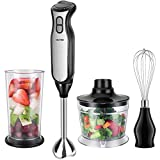 OSTBA Hand Blender 4-in-1 Stainless Steel Stick Immersion Blender with 700ml Food Chopper, 700ml Mixing Beaker and Stainless Steel Whisk, 8 Speeds Stick Blender for Baby Food, Soup, Smoothie, BPA Free