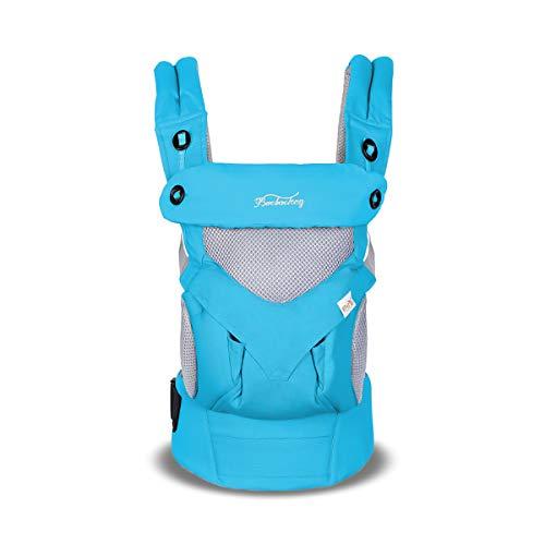 SONARIN Porte-bébé Respirant Convertible 4 en 1,3D Respirant Mesh,Capot Écran Solaire,Ergonomique,pour Nouveau-né à tout-petit (3-48 mois),charge maximale 20 kg,Convient pour l'été(Bleu)