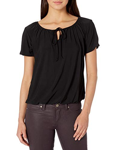 Star Vixen Women's Short/Slit Sleeve Keyhole-Tie Peasant Top Bubble Hem, Black Solid, M