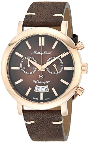 Mathey Tissot Men 's H42CHRF Quartz Brown Watch