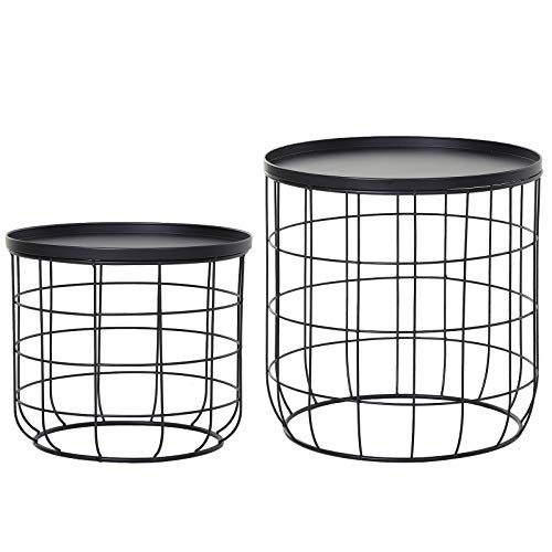 Outsunny Set of 2 Nesting Wire Coffee Side Tables Geometric Design Round for Storage Stacking Home Furniture Modern Decoration - Black