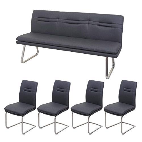 Mendler Esszimmer-Set HWC-H70, Esszimmergruppe Sitzgruppe Esszimmergarnitur, Stoff/Textil Edelstahl gebürstet ~ dunkelgrau 180cm