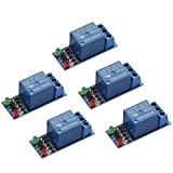 ZYAMY 5-Pack DC 5V 1 Channel Relay Module Interface Board Shield Low Level Trigger for SCM Household Appliance Control