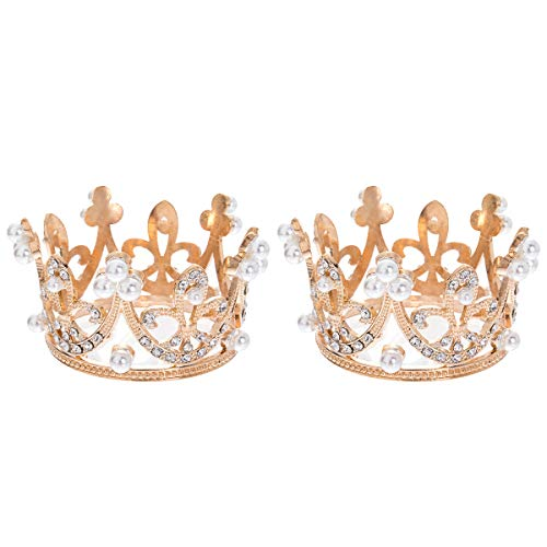 2 Pack Small Crown Gold Tiaras for Girls Crown Cake Topper for Decoration Party Bridal Wedding Headband