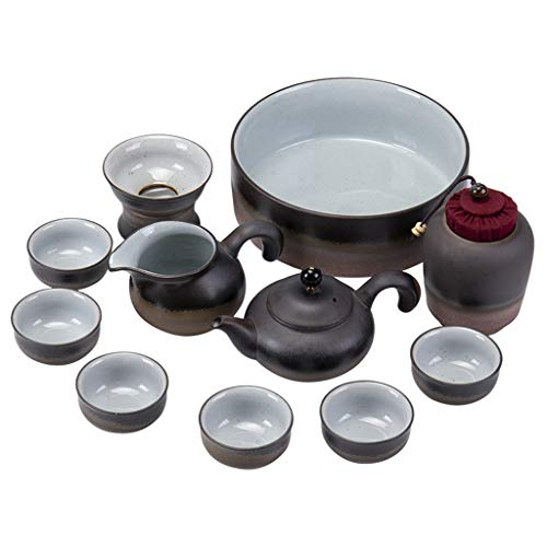 Servizi da tè Kung Fu Tea Set Set Teiera Tazza tè Cinese Set da tè Semplice Kung Fu Set da tè Miglior Regalo Teiere e caraffe per caffè (Color : Black)