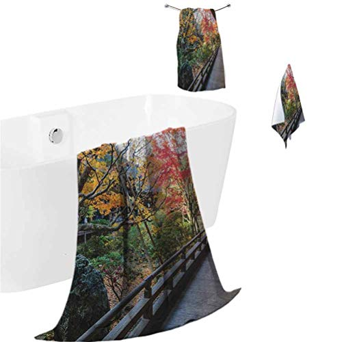 Japanese Bath Towel Set Forest Landscape from a Wooden Balcony in The Fall Paradise Maple Tree Print (1 Bath Towel + 1 Hand Towel + 1 Washcloth) Green Brown