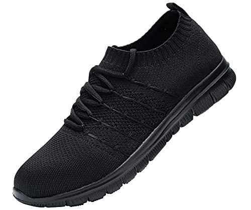 DYKHMILY Zapatos de Seguridad Cabeza de Acero Mujer Sra Antideslizante Impermeable Zapatos de Trabajo Respirable Luz(Super Negro,38)