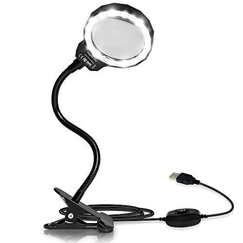 LARRY SHELL Lupenleuchte USB wiederaufladbare Daylight LED Clamp Lupenlinse aus optischem Glas mit 2 Lichteinstellungen zum Lesen, Hobby, Löten, Basteln