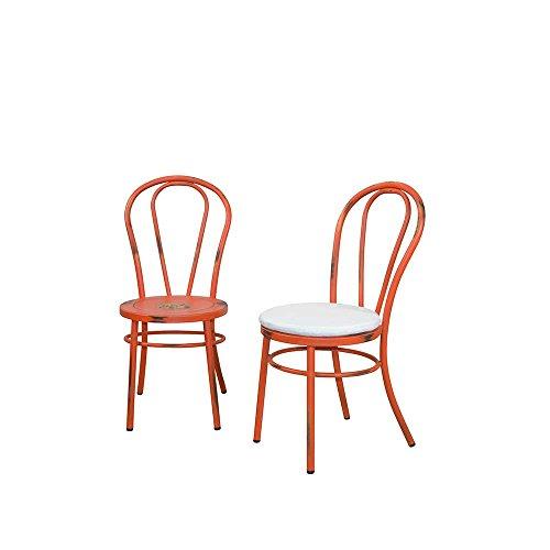 Pharao24 Industry Metallstuhl in Rot Sitzkissen Stuhl-Eigenschaften Ohne Bezugstoff