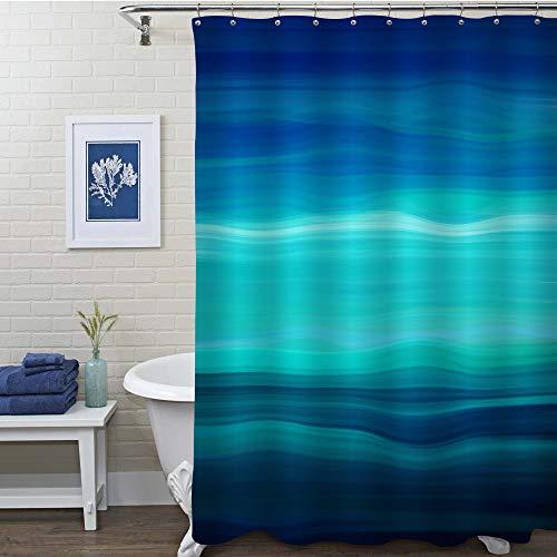MitoVilla Duschvorhang, abstrakte Meereswellen, geometrischer Kunstdruck, Badezimmer-Zubehör für moderne Heimdekorationen, Marineblau, Aquablau, Türkis, Blaugrün, 183 cm B x 243,8 cm L