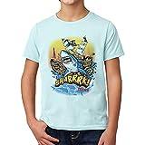DelSol - Kids Crew tee - Sharrrk - Camiseta Que Cambia de Color - Cambios de luz Solar - Se transforma de Blanco a Colores Brillantes - YS - 1 Pieza