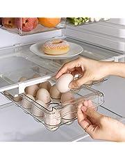 Koelkastlade organizer, koelkast organizer bakken met handvat, eierhouder voor koelkast, treks koelkast opbergladen voor eten, drinken