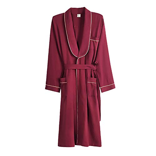 Lzcaure Albornoz para hombre, de algodón ligero, bata de baño, bata de baño, bata para hombre (color: rojo, talla: XL)