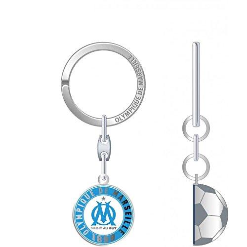 OLYMPIQUE DE MARSEILLE Porte-clefs Demi Ballon, Métal, 18 x 8,4 x 1,5 cm