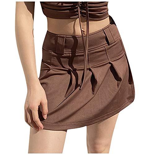 Falda Corta de Media Longitud, Color sólido Dulce, Cintura Alta, tirantez, frenillo, Rendimiento, Faldas de Baile, Ropa de Baile, Minifalda de Tenis