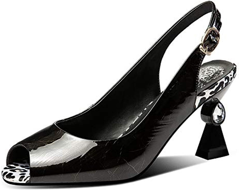 MENGLTX MENGLTX High Heels Sandalen Mode Vintage Blingbling Echtes Leder Frauen Sandalen 2019 Sommer Neue Peep Toe Seltsame Heels Party Prom Schuhe Frau  bis zu 80% sparen