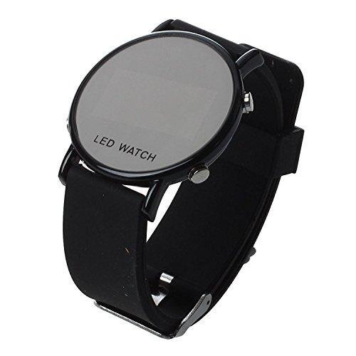 TOOGOO(R) Silikon LED Armbanduhr Damenuhr Herrenuhr Sport Armband Uhr schwarzes Uhrband