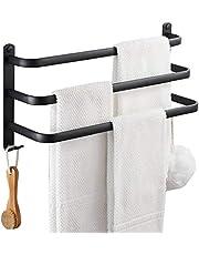 Handdoekenrek Matzwart Badhanddoekenrek, Waterdicht En Roestvrij Ruimte Aluminium Handdoekenrek Voor Badkamer, Doucheruimte, Drielaags Handdoekenrek (Size : 50cm)