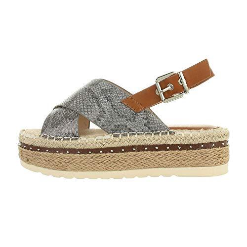 Ital Design Damenschuhe Sandalen & Sandaletten High-Heel Sandaletten, L1299-, Kunstleder, Grau Beige, Gr. 38