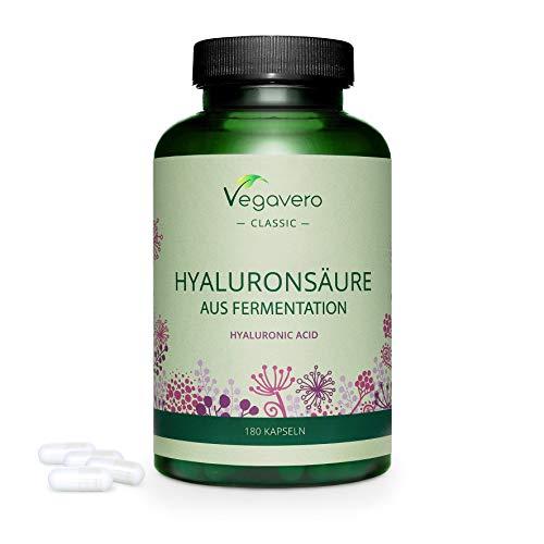 Ácido Hialurónico Vegavero® |595 mg | 100% Libre de Aditivos & Vegano | Natural - de Fermentación | 180 Cápsulas | 800-1500 kDa | Hidratante facial + Articulaciones