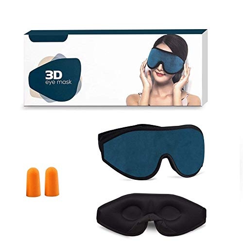 Sleep Eye Mask with Blockout Light - Memory Foam 3D Contoured Sleep Mask - Eye Cover & Soft Weighted Sleep Mask - Blindfold Sleeping Mask for Women, Men (Dark Blue)