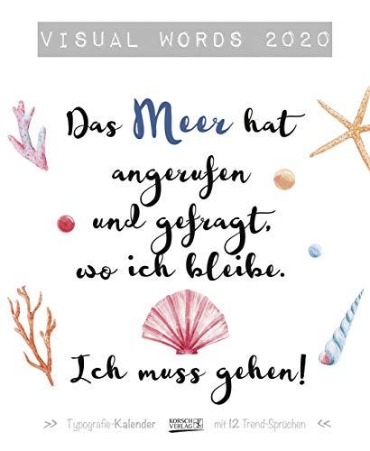 Visual Words 2020: Typo-Art Kunstkalender mit 12 Trend-Sprüchen. Wandkalender im edel glänzendem Kupfer-Look. 36x44 cm.