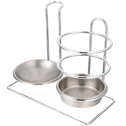 Hemoton Kök Dubbel Ladle Spoon Resta Rostfritt Stål Utrustning Lid Holder Ladle Rest Pot Rack Förvaring Rack