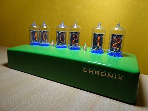 CHRONIX Vintage Nixie Tube Clock with 6xZ573M displays & RGB Backlight & Composite Green case Nixie röhren Uhr
