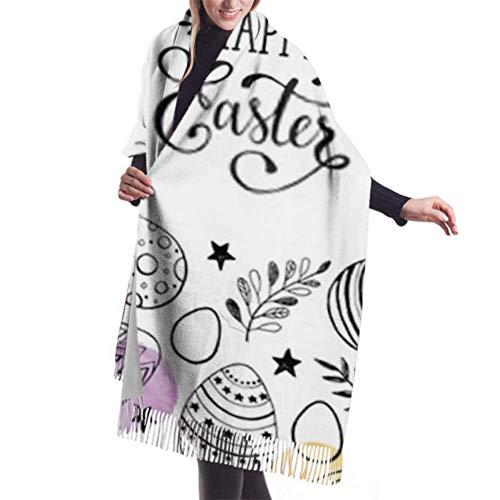 Bufanda de mantón, Bufanda de invierno unisex con sensación de cachemira clásica, composición de huevos de Pascua, bufandas largas grandes y cálidas negras dibujadas a mano, estola de mantón