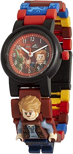 Armbanduhr Lego Jurassic World - Owen, inklusive 12 zusätzlichen Armbandgliedern, Lego Minifigur im Armband integriert, analoges Ziffernblatt, kratzfestes Acrylglas