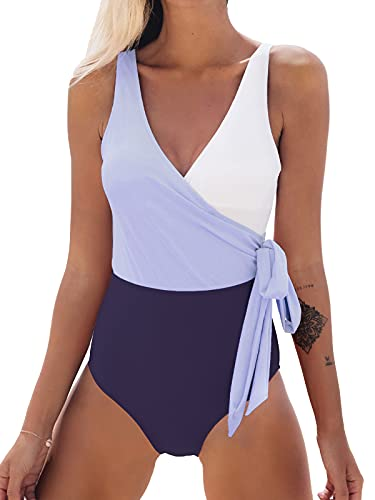 CUPSHE Women's One Piece Swimsuit Knotted Color Block Bathing Suit, XXL Purple White