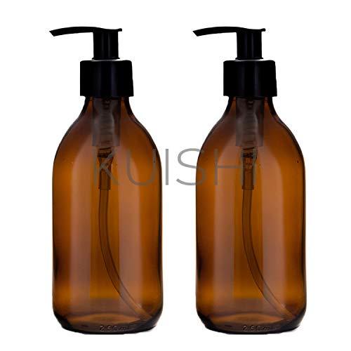 Kuishi Seifenspender Braunglas, Recycelte Glasflaschen 250ml [x 2] zur Reduzierung von Kunststoff Verpackungsabfällen. Ideal für Duschgel, Shampoo, Handwäsche, Lotion (BPA-Frei)