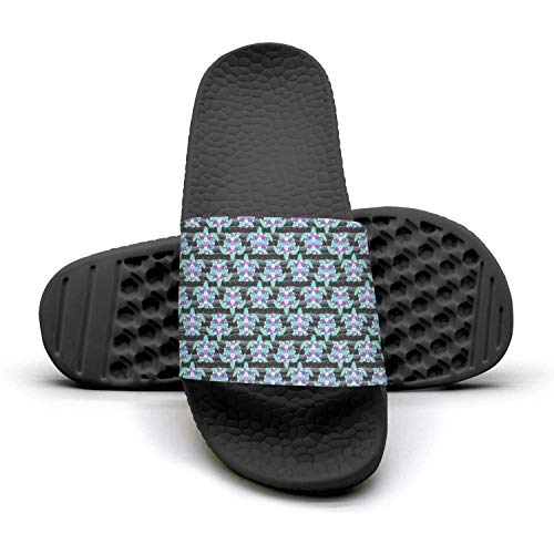 Sansalsk2 Women's Best Slipper Colourful Hawaiian Sea Turtle Blue Print Black Memory Foam Open Toe Flat Interior Slides Shoes