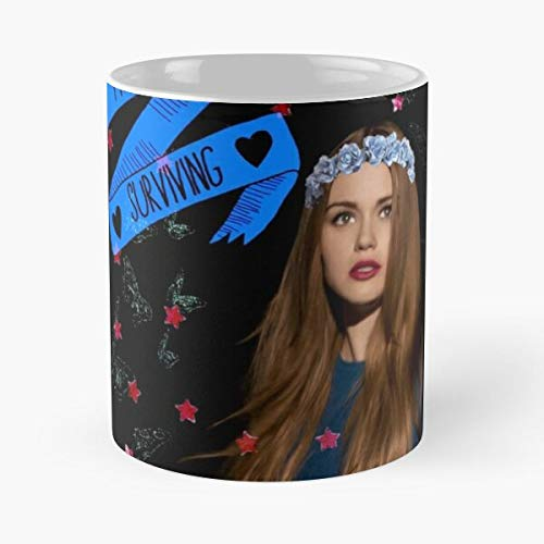 Peacocks Strength Lydia Martin Wolf TW Teen Eat Food Bite John Best - Taza de café de cerámica Blanca, 11 onzas, Onza