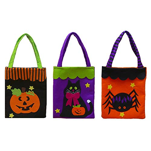 3 Pcs Large Halloween Goody Bags,Trick or Treat Candy Bags Gift Basket for Kids,Pumpkin Black Cat Spider Tote Candy/Snack/Goodie Bags for Halloween Decoration Favor