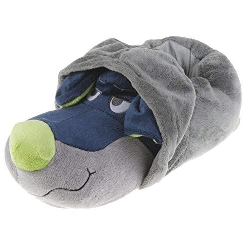Tierhausschuhe Unisex Hausschuhe Hoodie Hund, Grau Blau, 46/47, TH-HG