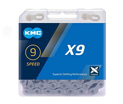 KMC X9 Chain, Catena Unisex Adulto, Grey, 1/2' x 11/128'