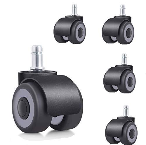 YeMI Casters Ruedas para Silla de Oficina, Castor Ruedas de Repuesto para Silla de Oficina con 4 rodamientos para sillas, 50 mm, 5 Unidades, TPR, Negro, 11x22mm
