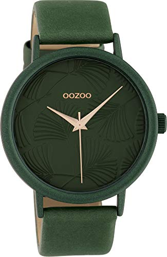 Oozoo Damenuhr mit Lederband 42 MM Colours of Oozoo Ginkgoblatt Zifferblatt Unicolor Grün C10398