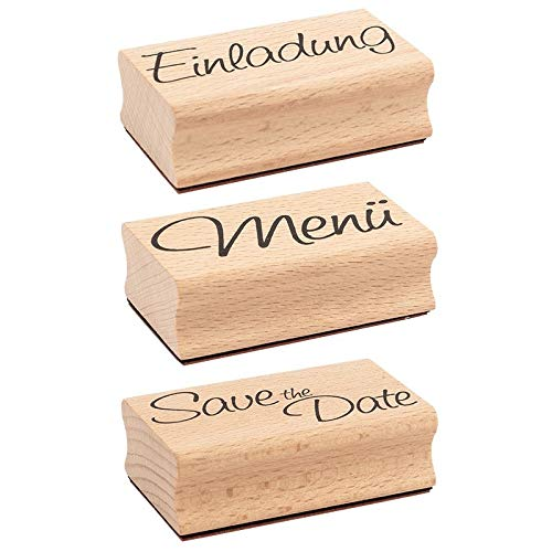 Ideen mit Herz Stempel-Set | 3 Holzstempel mit Sprüchen | je 6,5cm x 4cm x 2,2cm | ideal für Hochzeit, Glückwünsche, Einladungen (Einladung | Menü | Save The Date)