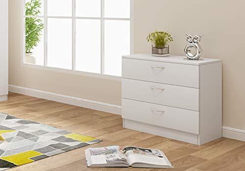 Panana Nachttisch, Kommode, Aufbewahrungsschrank aus Holz mit 3 Schubladen auf Wohnzimmer, Schlafzimmer, Büro, 67 x 33 x 57 cm (weiß)