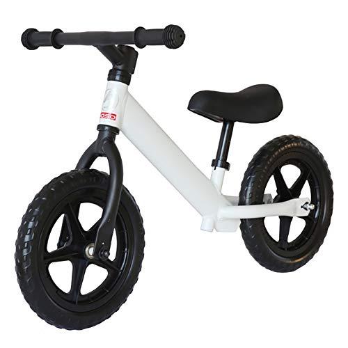 BLKykll Balance Fahrrad ohne Pedal, Sattel und Lenker verstellbar 3-6 Jahre (weniger als 25 kg) Universal für den Innen- und Außenbereich L weiß