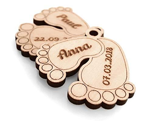 Sleutelhanger babyvoetjes - decoratieve hanger hout met gravure naam, geboortedatum baby - sleutelhanger decoratie babyvoeten, lievelingsmensch hanger ook lederen armband geschikt